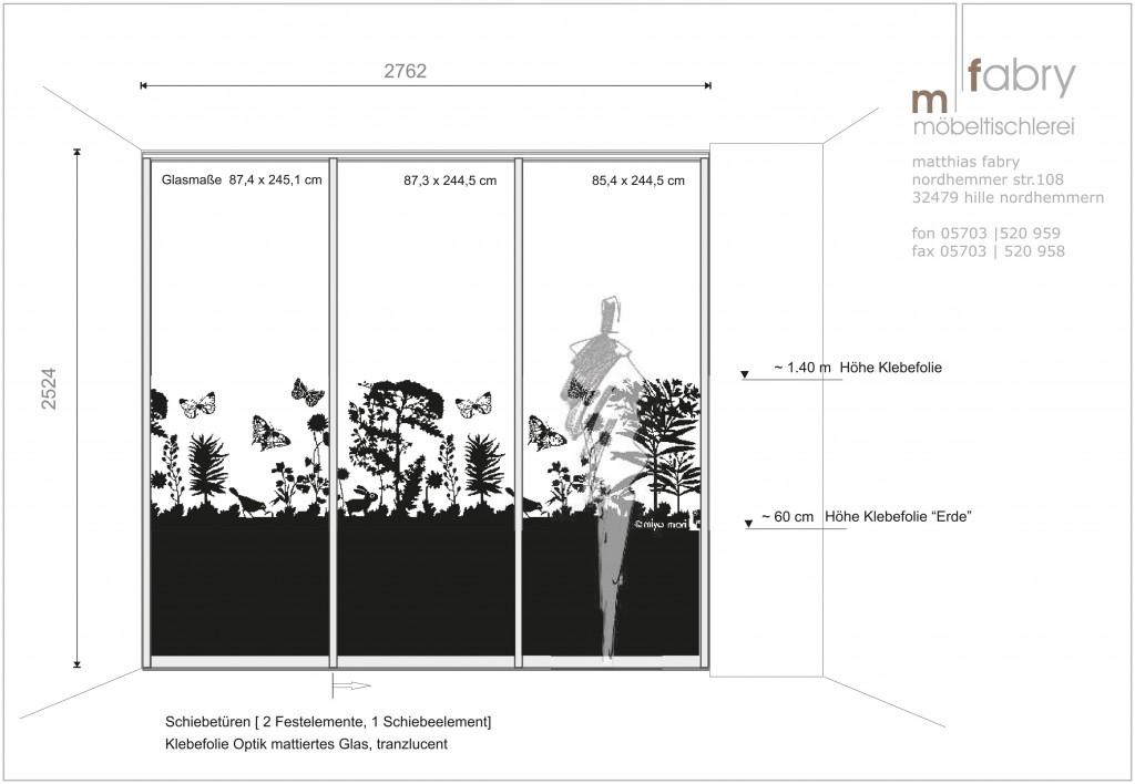 Skizze Schiebetür mit transluzenter Folie auf Klarglas zum Sichtschutz, Motiv: miyo mori